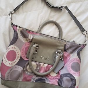Coach Signature Pink, White & Gray Hobo Purse Bag
